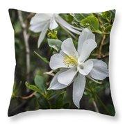 White Columbine Throw Pillow