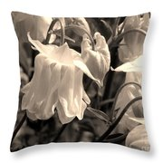 White Columbine Lanterns Monochrome Horizontal Throw Pillow