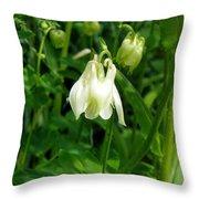 White Columbine On Green Throw Pillow