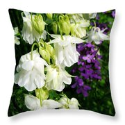 White Columbine With Purple Phlox Throw Pillow