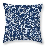 White Coral On Blue Pattern Throw Pillow