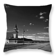 White Country Chuch And Road Throw Pillow