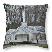 White Country Church Series Photo B Throw Pillow