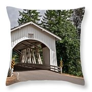 White Covered Bridge Hannah Bridge Art Prints Throw Pillow