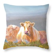 White Cows Painting Throw Pillow