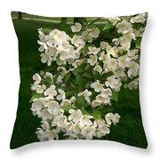 White Crabapple Throw Pillow