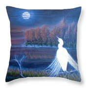 White Crane Dancing In The Light Of The Moon Throw Pillow
