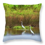 White Cranes Throw Pillow