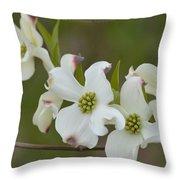 White Cross Flowers Throw Pillow