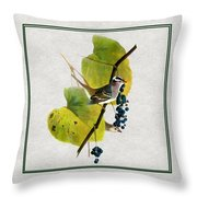 White Crowned Finch Square Throw Pillow