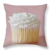 White Cupcake On Pink Throw Pillow