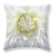 White Dahlia Floral Delight Throw Pillow