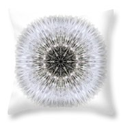 Dandelion Head I Flower Mandala White Throw Pillow