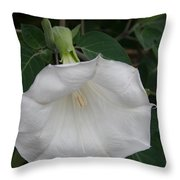 White Datura Throw Pillow