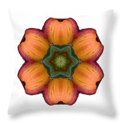 Daylily I Flower Mandala White Throw Pillow