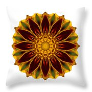 Deep Orange Marigold V Flower Mandala White Throw Pillow