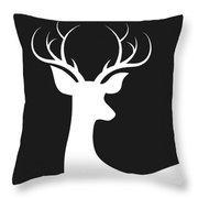 White Deer Silhouette Throw Pillow