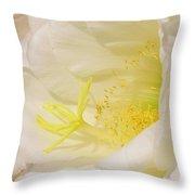 White Delicate Cactus Flower Throw Pillow