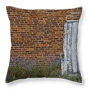 White Door In Brick Building Throw Pillow