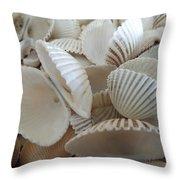 White Double Ark Shells Throw Pillow