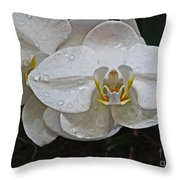 White Dream Orchid Throw Pillow