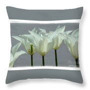 White Early Dawn Tulips White Bordered Throw Pillow