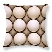 White Eggs In Carton Throw Pillow