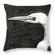 White Egret Art - The Great One - By Sharon Cummings Throw Pillow