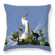 White Egret In Spring Throw Pillow