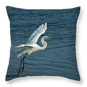 White Egret Landing Throw Pillow