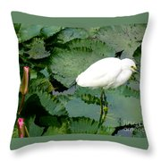White Egret On Lilypads Throw Pillow