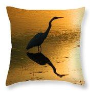 White Egret Reflection Throw Pillow