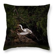 White Egret's Approach   #0615 Throw Pillow
