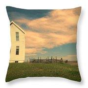 White Farmhouse And Corral Throw Pillow