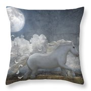 White Feathered Moon Throw Pillow