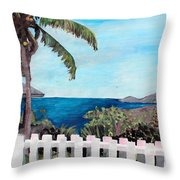 White Fence At English Harbour Antigua West Indies Throw Pillow
