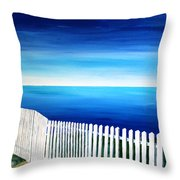 White Fence In Port Reyes National Seashore California Throw Pillow