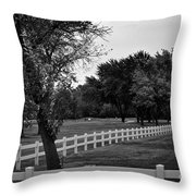 White Fence On The Wooded Green Throw Pillow