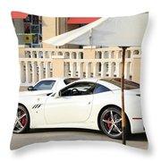White Ferrari At The Store Throw Pillow