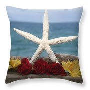 White Finger Starfish And Flowers Throw Pillow