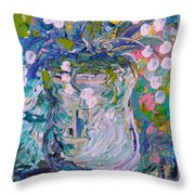 White Flower Abstract Throw Pillow