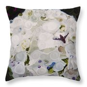 White Flower And Friendly Bee Mixed Media Painting Throw Pillow