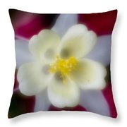 White Flower On Red Background Throw Pillow