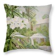 White Flowers Aruba Throw Pillow