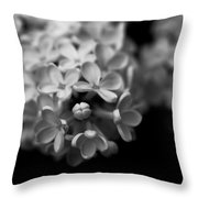 White Flowers In Black And White Throw Pillow