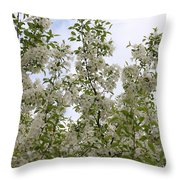 White Flowers On Branches Throw Pillow