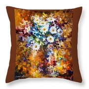 White Flowers - Palette Knife Oil Painting On Canvas By Leonid Afremov Throw Pillow