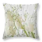 White Flowers Pi Throw Pillow
