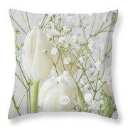 White Flowers Pii Throw Pillow