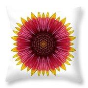Galliardia Arizona Sun I Flower Mandala White Throw Pillow